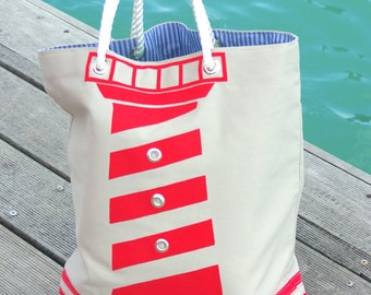 beach bag, nautical bag, summer bag, large beach bag, lighthouse bag