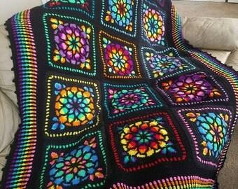 BREATHTAKING Stained Glass Crochet Afghan!!!  Custom Order Only!!
