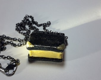 Golden Black Book Necklace