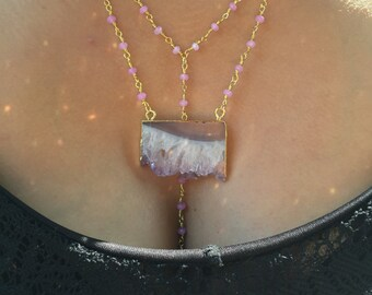 Amethyst Slice with Lavender Jade Chain