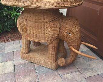 Vintage Wicker Elephant
