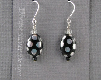 Sterling Silver with Polka Dot Czech Glass, Dangle Earrings Hand Crafted by Cecilia Beito