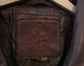 Bomber style brown leather jacket