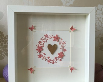 "Floral Heart 8""x8"" Box Frame"