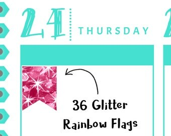 Glitter Rainbow Flag Stickers {36 Fancy Matte or Glossy Planner Stickers, Double Rainbow} | #16-100