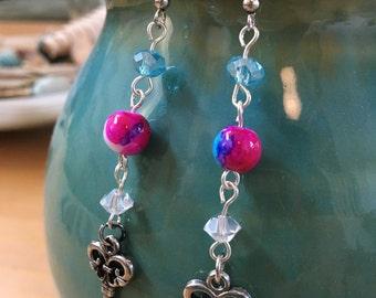 Handmade, Boho, Beach, Industrial, Steampunk, Silver, Key, Charm, Watercolor, Blue, Purple, Bead, Dangle, Drop, Earring