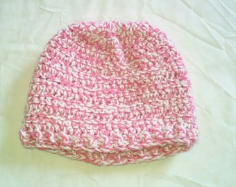 Pink and white baby hat