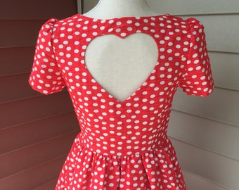 Vintage Inspired Red Polka Dot Heart Cutout Dress With Pockets