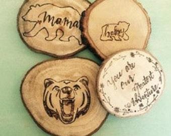 Wood burned tree slice coasters