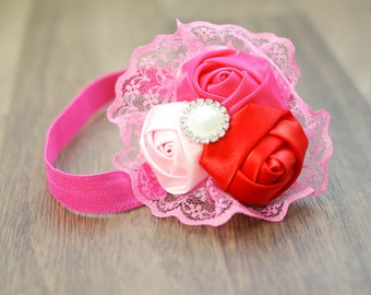 Baby Headband, Satin Headband, Photography Prop, Photo Prop, Newborn Prop, Baby Prop, Baby Girl Prop // Red and Pink Lace Flower Headband