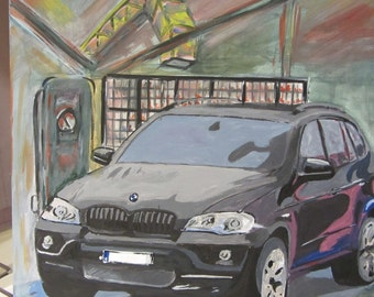 Acrylic image BMW X 5 black on abstract painting, canvas, poster, direct from the artist.