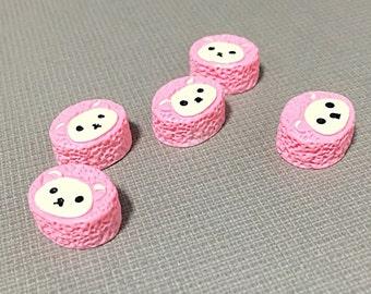 Pink Kawaii bear cabochons