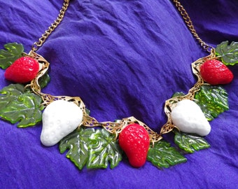 Vintage Glass Strawberries Necklace