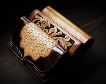 Handmade hand engraved leather wallet