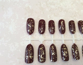 Gold fleck and burgundy full cover oval hand painted nails 24