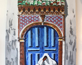 Oriental painting, woman on doorstep