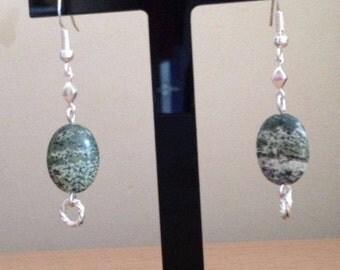Serpentine and Sterling Silver Drop Earrings.