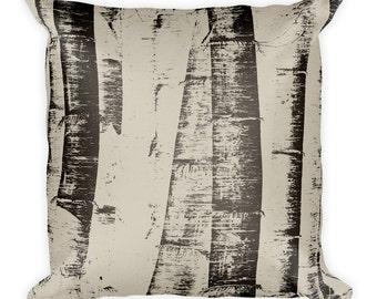 Bamboo Sketches Throw Pillow - Brown