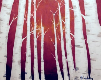 Birch Trees in Red Sunset