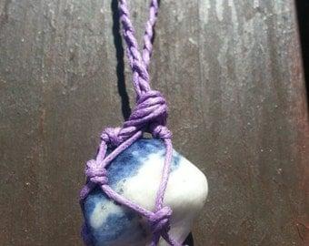 Blue Lace Agate macrame necklace lylac cotton