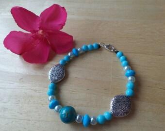 Blue silver acrylic cotton cord bracelet