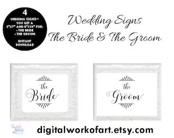 Wedding Sign Bride and Groom Printable Set, Wedding Door Sign for Bride and Groom Printable, Instant Download