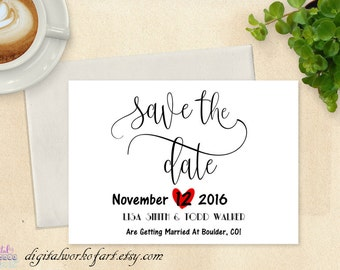 Save the Date Template, Save the Date Card, Save the Date Printable, Wedding Printable, Rustic Wedding, Editable PDF Instant Download,