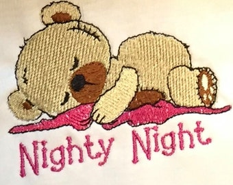 Embroidered Baby Onesie or Children T-Shirt with Nighty Night Bear on it