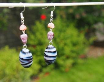 Marble Effect Glass Bead Earrings