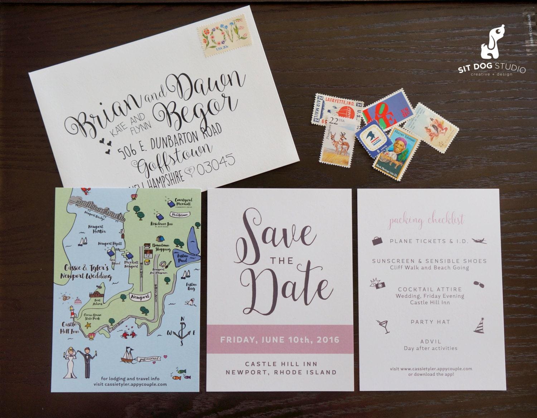 Wedding Invitation Save The Date: Custom Save The Date Destination Wedding Invitation