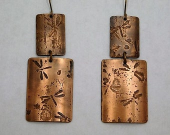 Dragonfly Etched Copper Dangle Earrings