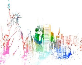 Ny city poster,new york poster,ny print,new york print,ny art,new york art,statue of Liberty,artist ny,art ny,poster new york,print ny,print