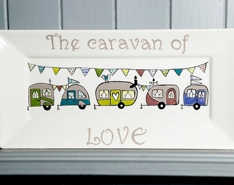 Caravan of love - hand painted rectangle plate - Vintage retro caravans with bunting - Rectangle Plate - retro vintage inspired design,