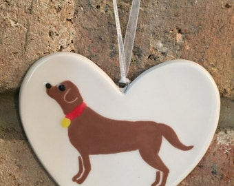 Hand painted Ceramic Heart - Brown Labrador