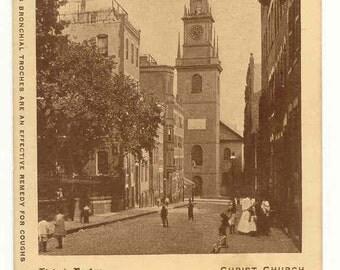 Unused Vintage Postcard - Brown Lozenges and Old North Church - Boston