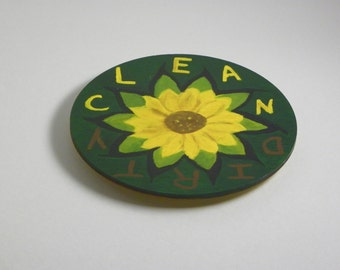 Wood Hand Painted Clean/Dirty Dishwasher Magnet