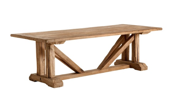 Solid reclaimed oak dining table 100 year by for 100 year old oak table