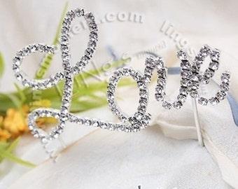 Rhinestone Crystal Wedding Cake Topper (Love)