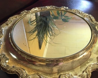 """International Silver Company Webster Wilcox pattern silver plated 13"""" footed mirrored tray"""
