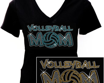 2014 Volleyball Mom - Rhinestone T-shirt