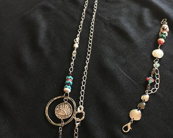 Silver, turquoise, Native necklace/lanyard