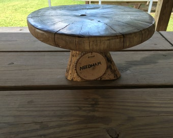 Natural hickory wood cake stand