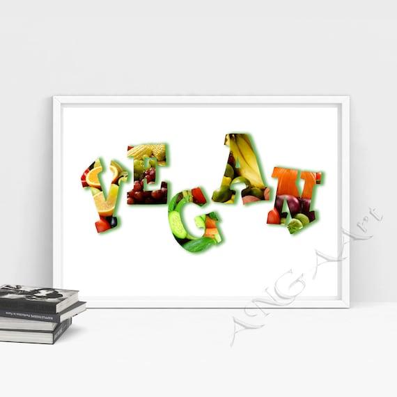 Kitchen Decor Vegetables: Vegan Fruits Vegetables Kitchen Decor Print Instant