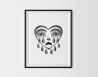 Crying Heart Tattoo Flash Design A5 Black and White Art Print // Tattoo Flash Print // Tattoo Art // Stippled Art // Tattoo Design