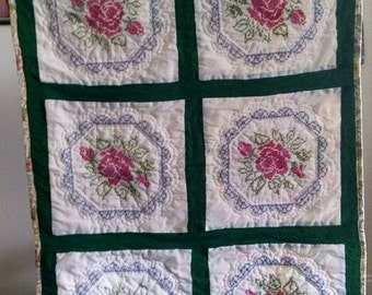 Embroidered Roses Baby Quilt
