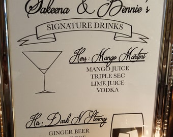 Bar Signs custom made for your wedding's signature drinks