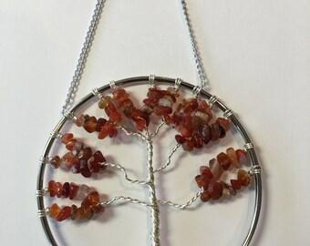 "4 ""Carnelian Tree of Life Wall/Window Decoration"