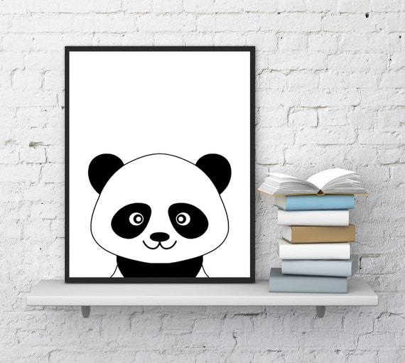 Cute Black Wall Decor : Panda print cute nursery wall decor black by