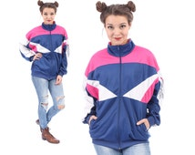 Track BOMBER Jacket 80s Workout Colour Block Zip Up Old School Navy Blue Pink White Hip Hop Men Women Unisex Brooks Logo Athletic Sports XXL
