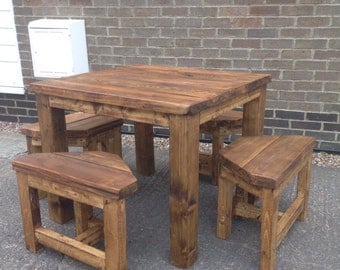Reclaimed wood kitchen space saver table set